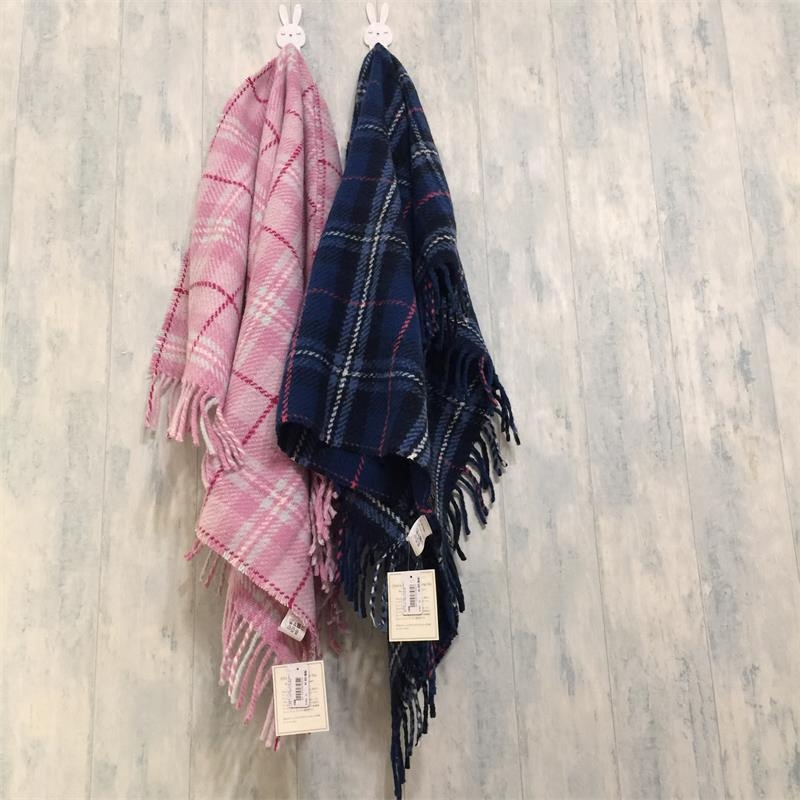 出口下午茶针织色织格子披肩毯 毛线编织围巾 盖腿毯