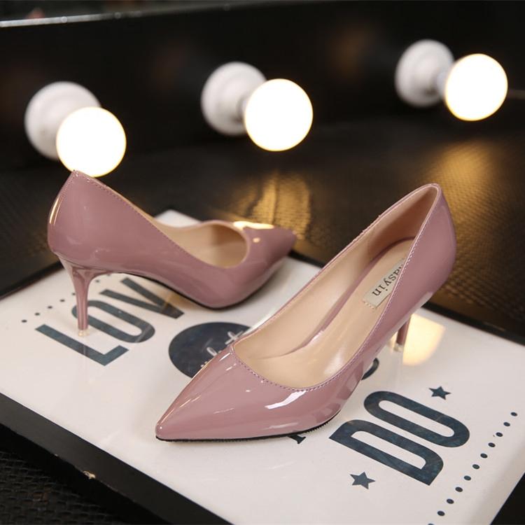 明星同款裸色尖頭高跟鞋細跟裸粉色漆皮單鞋女黑色中跟上班工作鞋