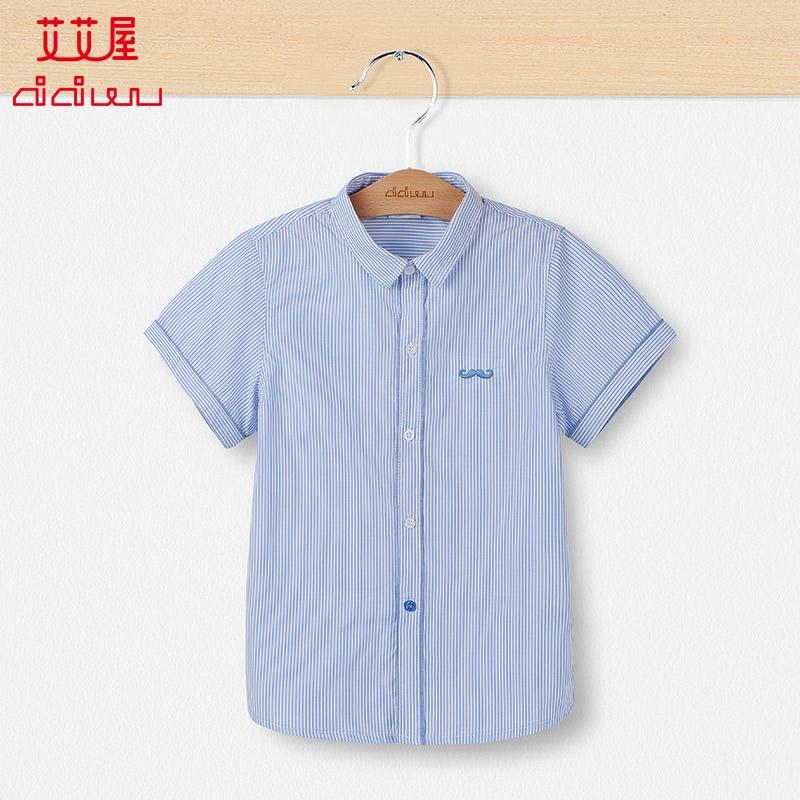 艾艾屋童裝男童短袖純棉襯衫上衣夏季男孩兒童韓版條紋襯衣KFSD33