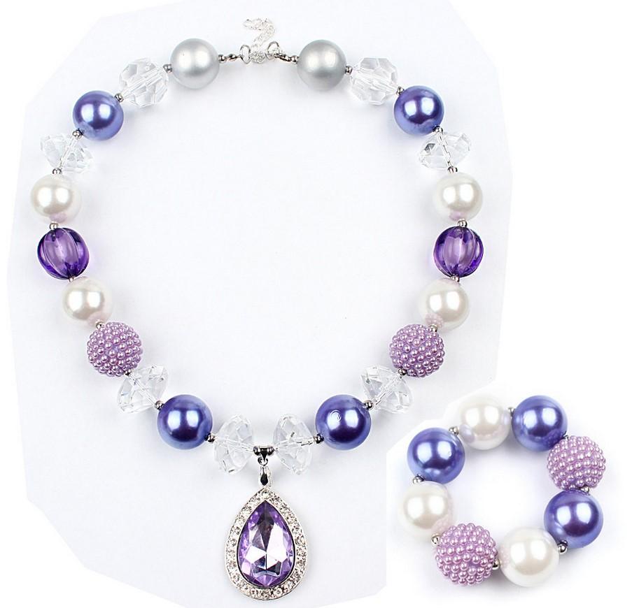 大珍珠女童項鍊韓國進口兒童飾品紫色水晶潮寶毛衣鏈手鐲手鍊盒裝