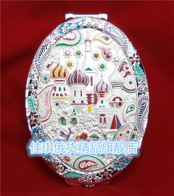 新款俄羅斯精品雙面摺疊化妝鏡白色橢圓形美鑽美紋七彩玲瓏城堡