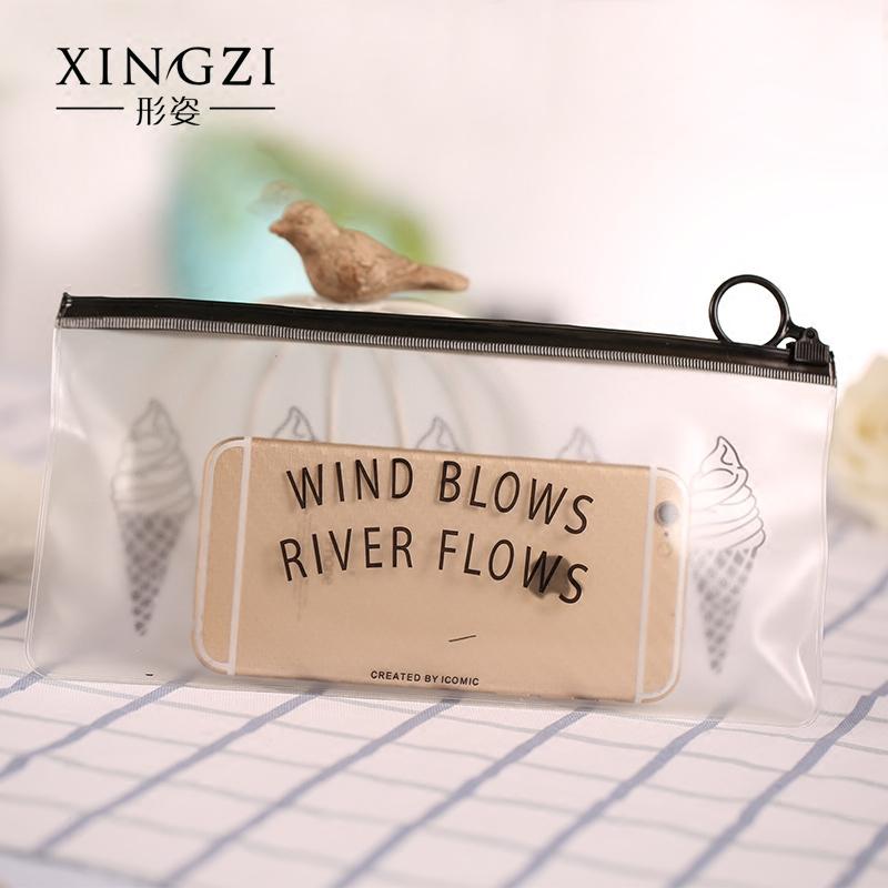 户外旅行便携多功能塑料收纳袋 可爱女手提透明防水化妆包洗漱包