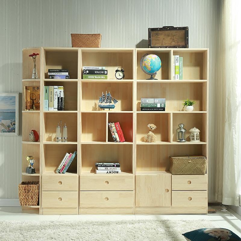 实木书柜简约现代松木书架儿童储物柜带门格子柜自由组合置物柜