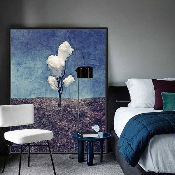 玄关过道油画性冷淡风工业现代客厅装饰画餐厅简约抽象画三朵白云