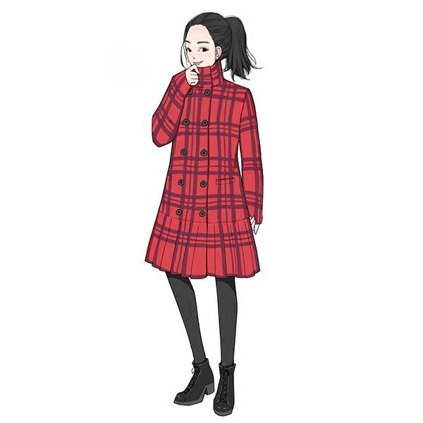 大喜自制秋冬新品女装格纹秋冬毛呢外套女呢子大衣中长款潮