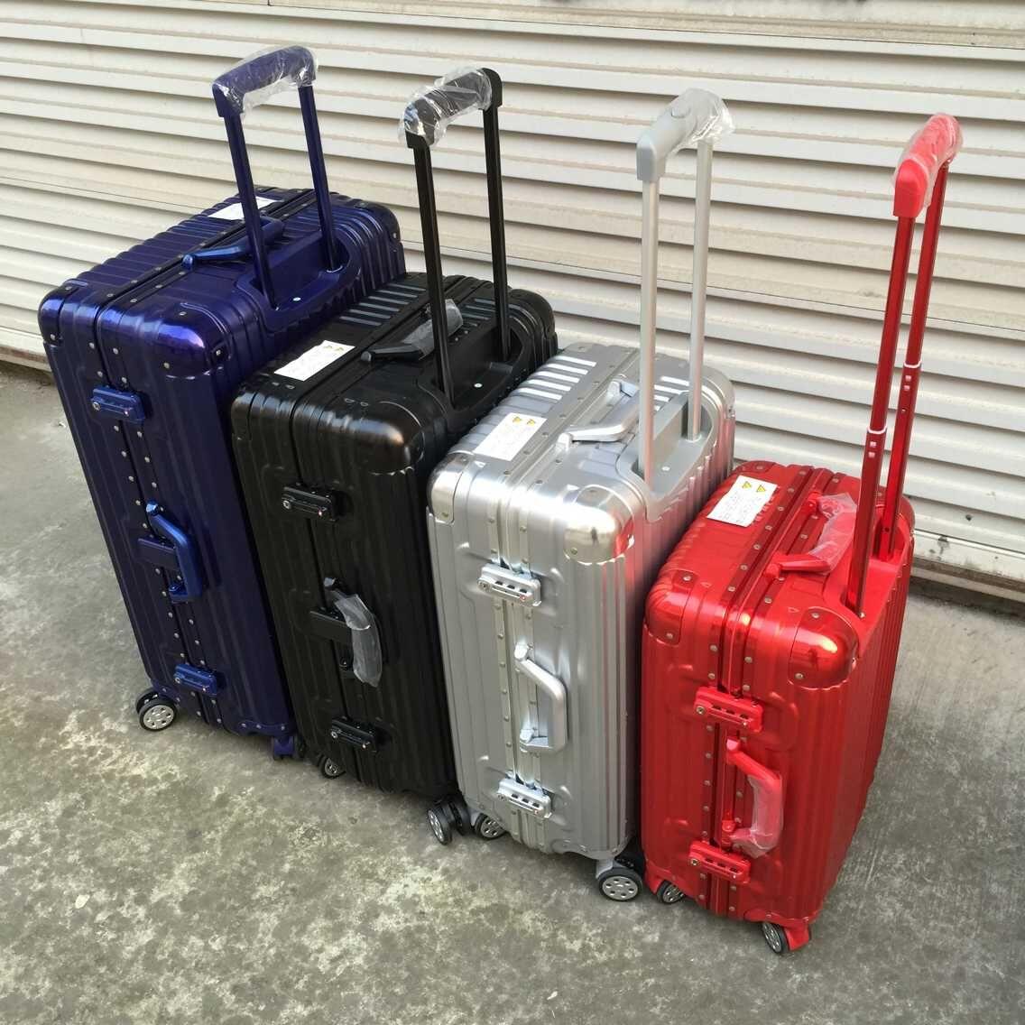 寸登机箱女粉 20 旅行箱万向轮学生密码箱包复古 24 行李箱铝框拉杆箱