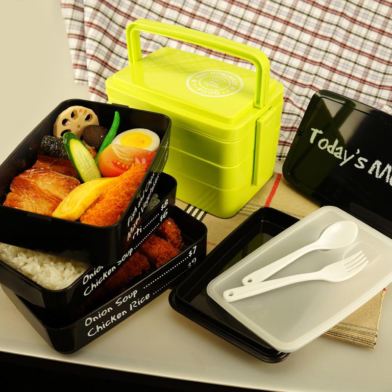 包郵創意大容量便當盒塑料可微波餐具手提多層易攜帶午餐盒飯盒