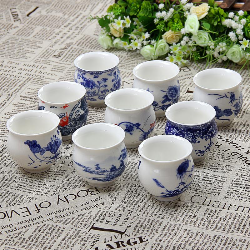 景德鎮青花瓷茶具茶杯雙層隔熱陶瓷杯耐熱不燙手日式品茗杯多款選