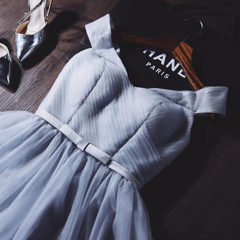 伴娘服裙2019新品晚礼服伴娘服蓬蓬裙一字肩敬酒服姐妹礼服连衣裙