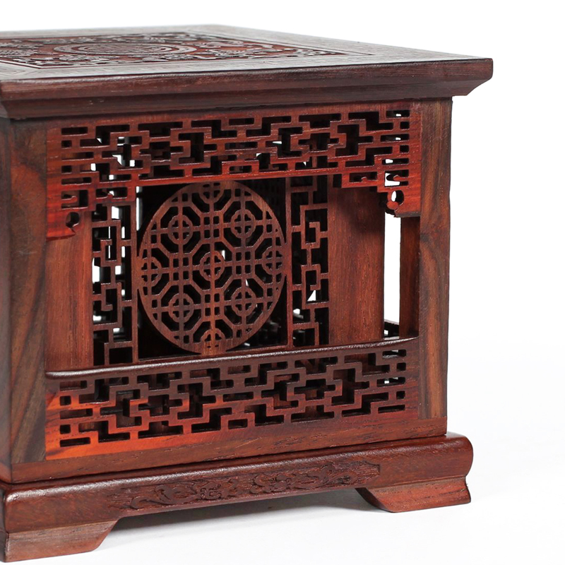 红酸枝盘香炉檀香盒子 红木工艺品木雕摆件 实木质四角双层盘香盒