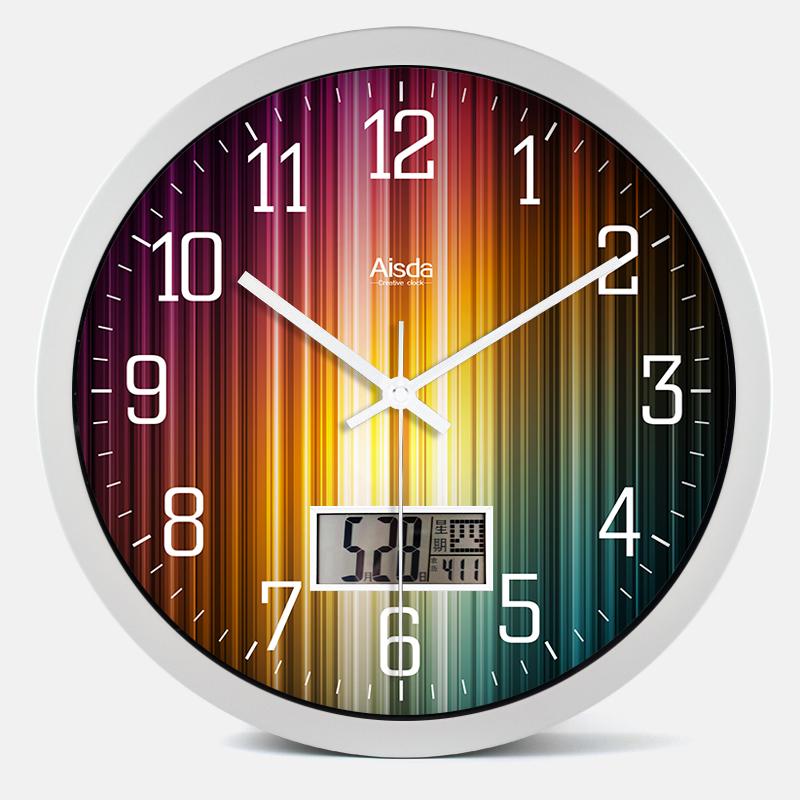 萬年曆掛鐘溫度計客廳靜音石英鐘錶簡約現代電子時鐘創意時尚掛錶