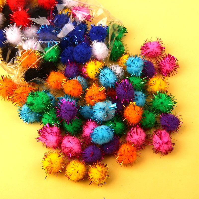兒童手工DIY創意金蔥毛球毛絨球 彩色毛線球玩偶裝飾材料 20毫米