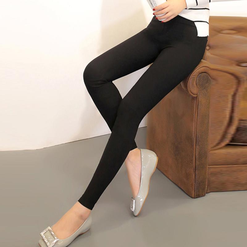 春夏弹力长裤打底裤外穿薄高腰紧身大码九分女裤铅笔白黑色小脚裤