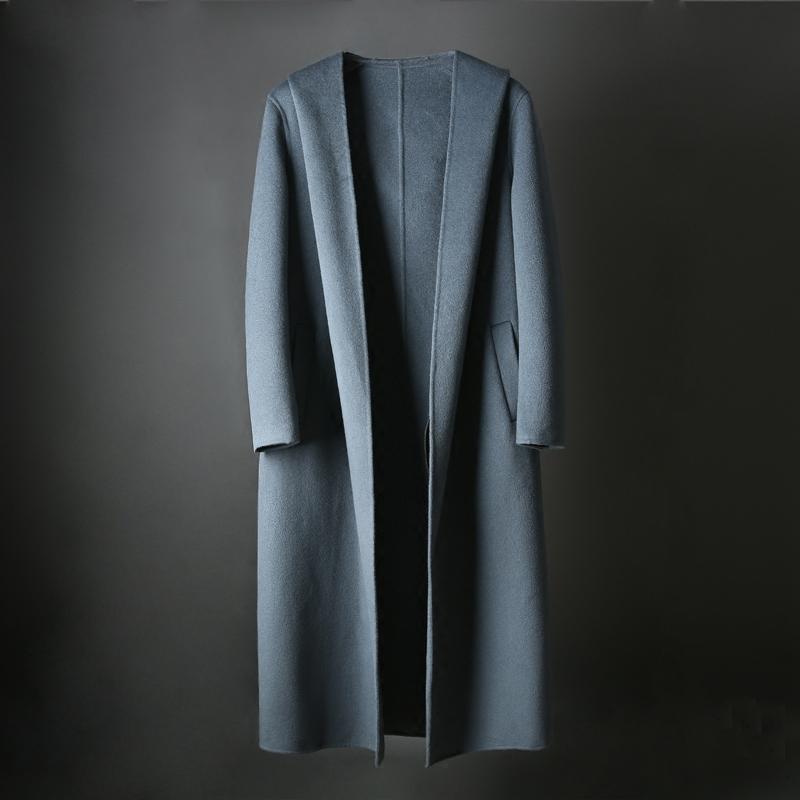 镇店牛货 版型大气太帅了 秋冬毛呢加长款双面羊毛羊绒大衣男Y20