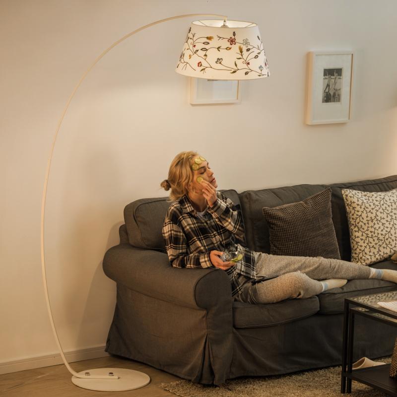 北欧ins网红钓鱼灯落地灯客厅卧室沙发创意田园绣花美式立式台灯