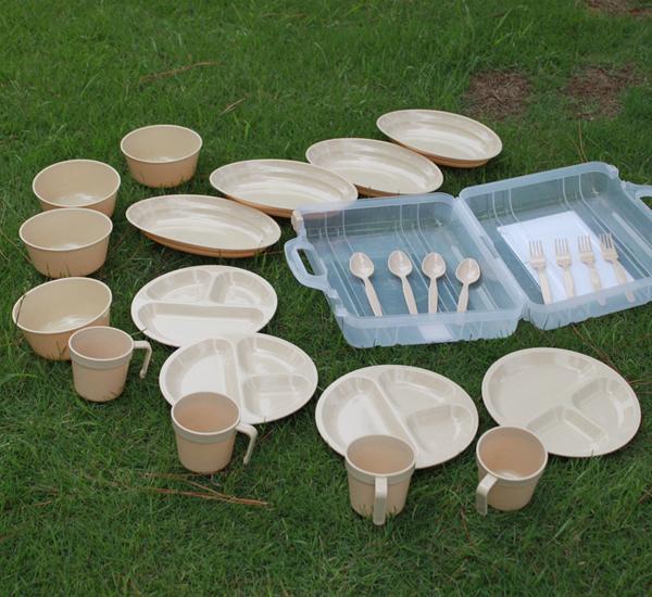 戶外碗行動式24件套野營餐具四人組環保野餐包野炊用品野餐碗套裝