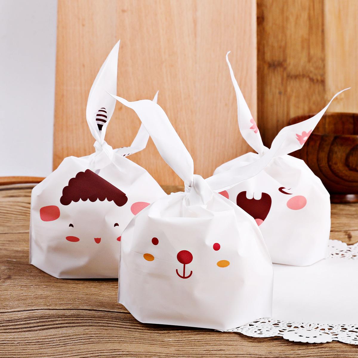 長耳朵小兔子牛軋糖包裝袋糖紙包裝盒 白色磨砂餅乾袋小點心 30只