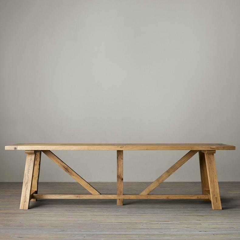 美式鄉村實木大板餐桌 法式簡約復古做舊大長桌/北美黑胡桃木書桌