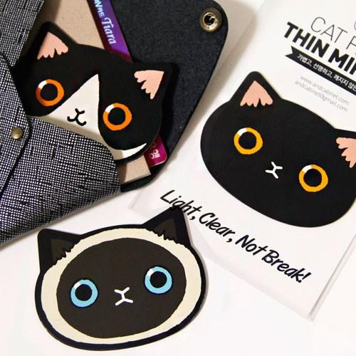 韓國andcabinet創意設計可愛貓咪頭小鏡子便攜隨身化妝鏡迷你款