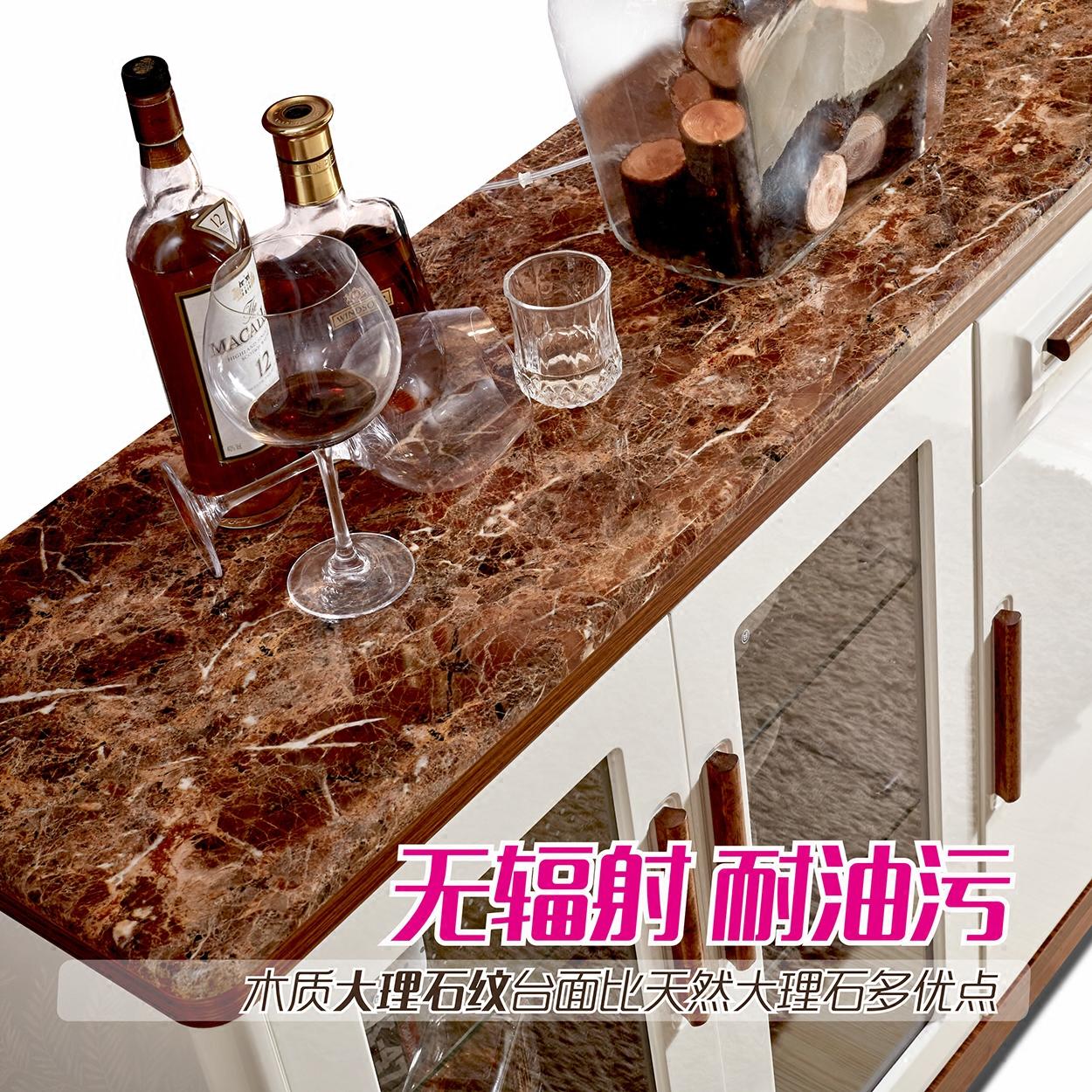 北欧餐厅柜子欧式大理石餐边柜现代简约实木茶水柜碗柜酒柜厨房柜