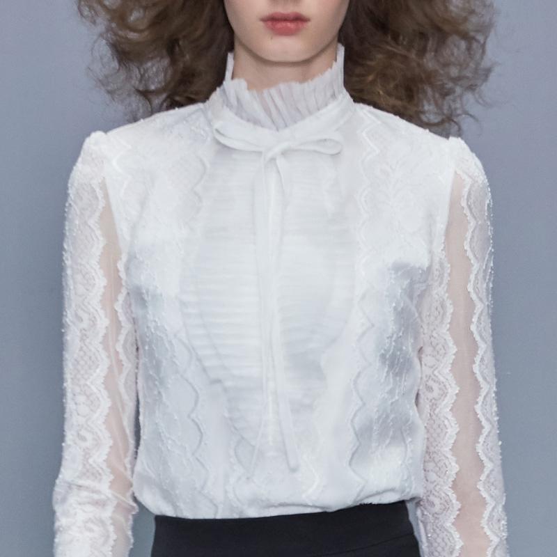 小衫2020新款女装衬衫内搭上衣女长袖白色欧货时尚洋气蕾丝打底衫主图