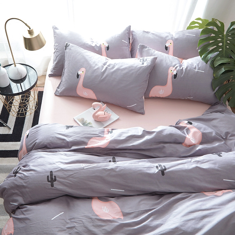 全棉床上用品火烈鳥四件套純棉被套床單被子罩三件套床笠 ins 北歐