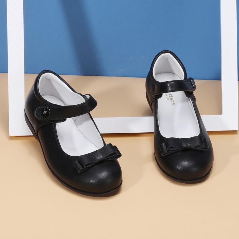 斯乃纳至悦 女童皮鞋黑色春秋款公主鞋真皮小学生单鞋女孩演出鞋