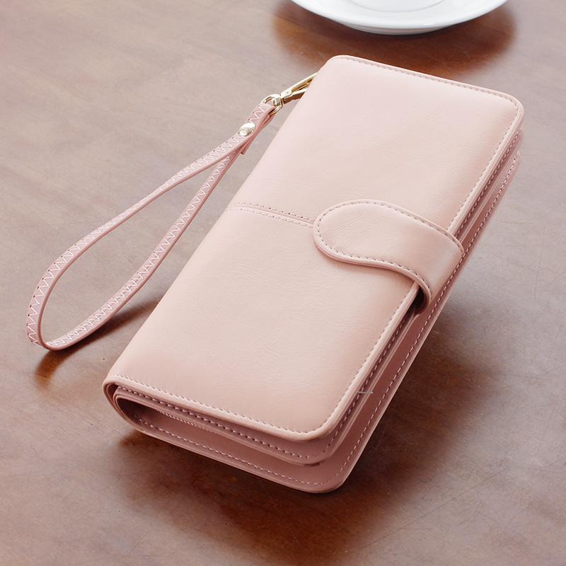 少女網紅錢包長款韓版拉鍊錢夾ins簡約兩摺疊復古小眾設計師皮夾