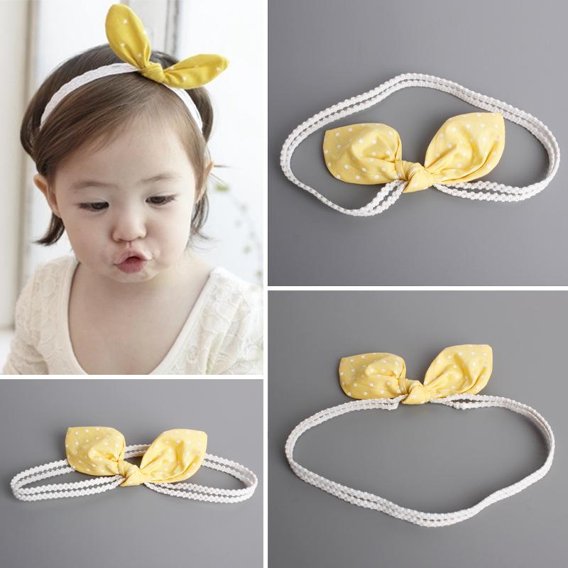 促銷 韓版兒童兔耳波點寶寶髮帶嬰兒髮帶 經典兒童夏季髮帶