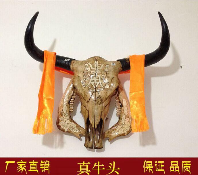 牛头骨工艺品 牦牛头骨装饰品 真牛羊头骨标本 特色手工壁挂牛头