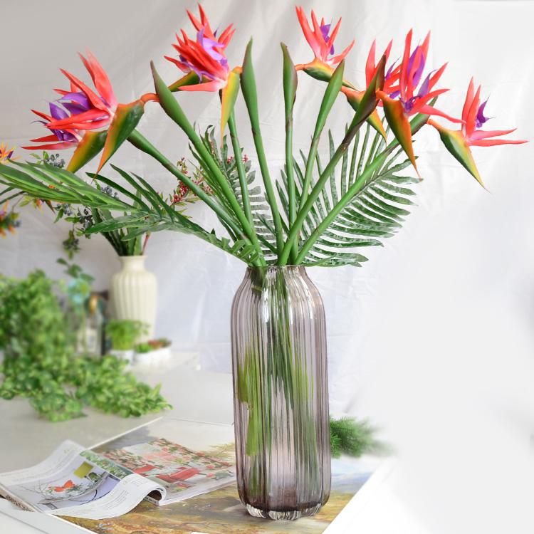 高檔2014現貨 過膠高模擬花假花天堂鳥 客廳家居落地長枝裝飾品