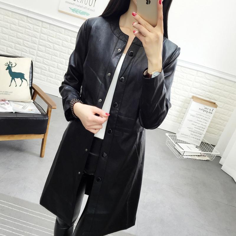 皮衣女中长款pu皮外套女士秋冬新款韩版圆领长袖修身气质风衣外套