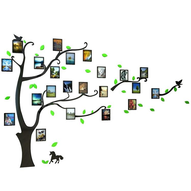 3d立体墙贴画纸自粘亚克力创意相框照片树办公室客厅沙发电视装饰