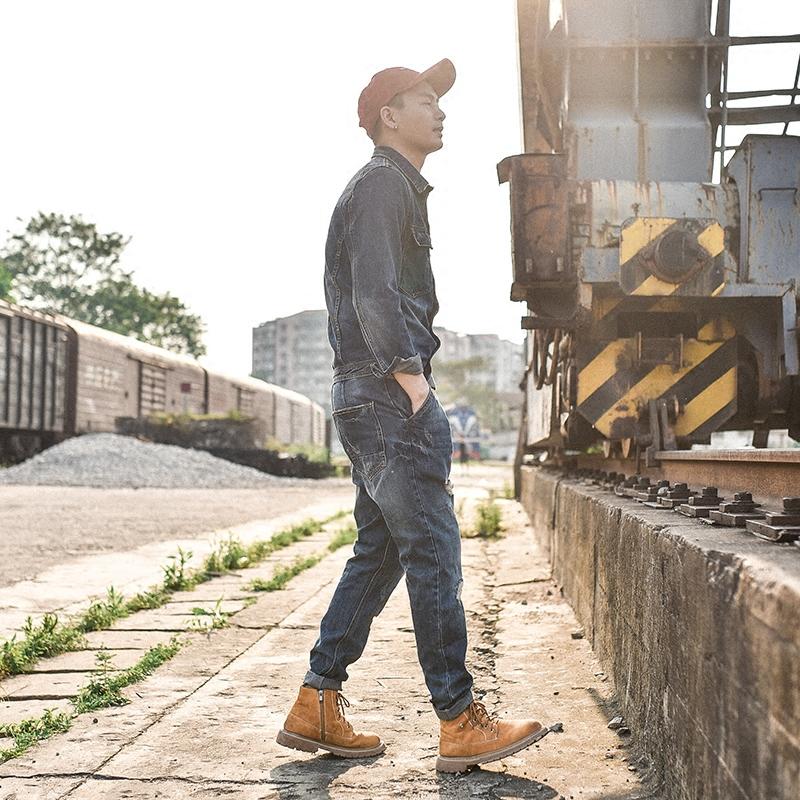 原创日系男士复古休闲连体裤修身牛仔外套韩版连体衣青少年背带裤