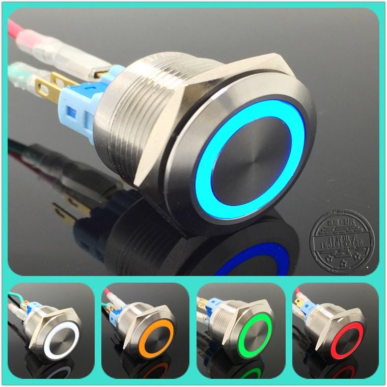 22mm金屬啟動自復位帶環形燈按鈕開關6v12v24v220v防水不鏽鋼