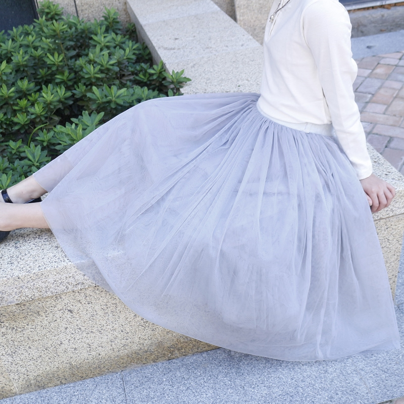 【天天特价】女童半身裙大女孩少女半身长裙 A字裙亲子淑女网纱裙