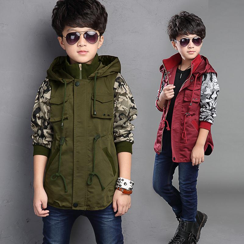 童裝男童秋裝6中長款8風衣12中大童15歲男裝休閒時尚迷彩軍綠外套