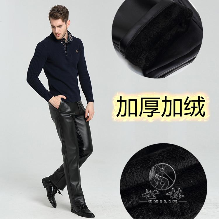 中老年皮裤男加绒加厚保暖宽松大码休闲男士皮裤机车摩托车PU裤子