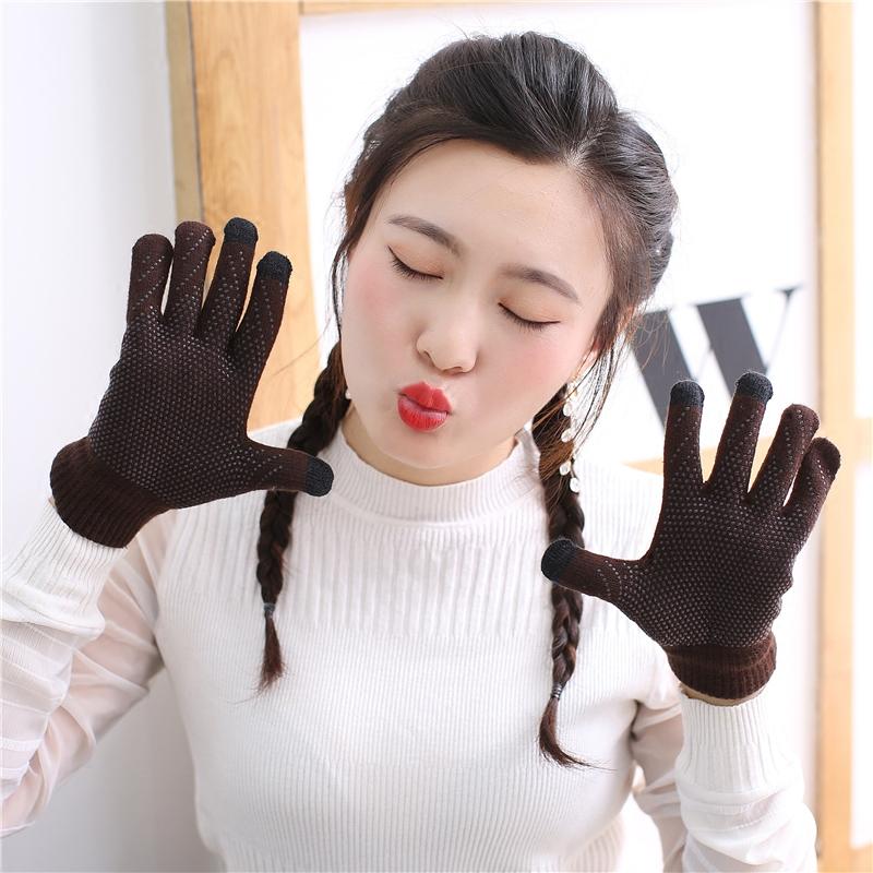 情侣触屏毛线手套男女冬季针织加绒保暖韩版学生骑行五指户外防滑