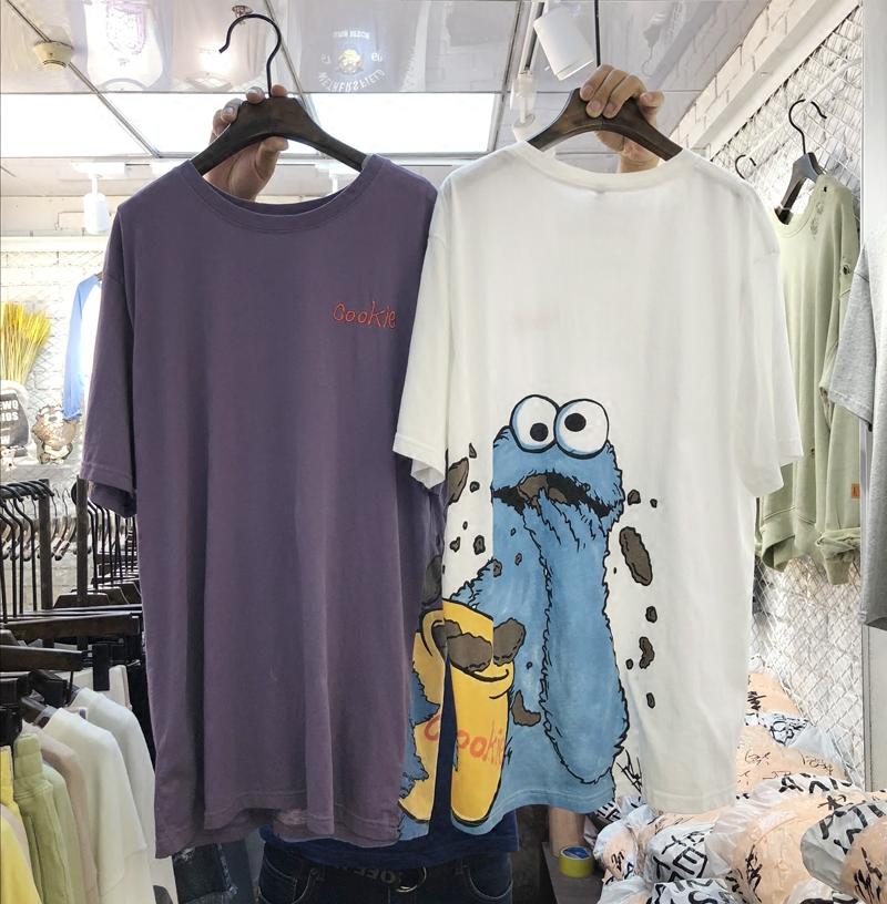 [淘寶網] 韓版AIMEE WQ春夏新款紫色短袖T恤女中長款卡通印花純棉T裙香芋紫