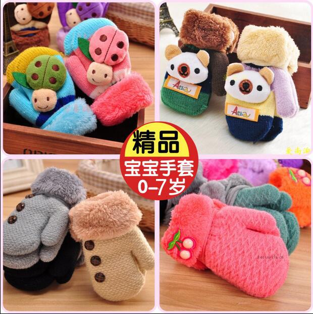 兒童手套保暖可愛冬季1-2男童女童加絨五指3歲小孩嬰兒寶寶手套冬