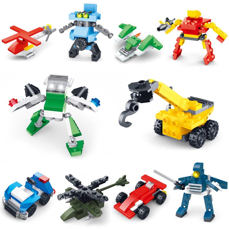 星钻积木兼容乐稿拼装汽车飞机军事玩具男孩积木机器人4-6-8周岁