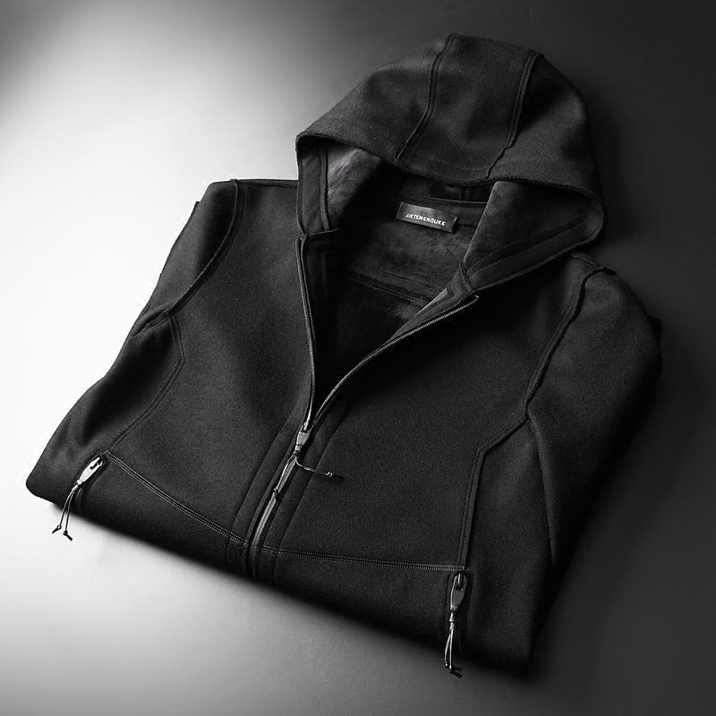 品质绅士羊毛呢拉链连帽大衣男士 冬季加厚加绒中长款呢子外套