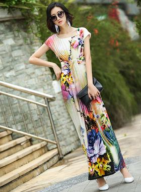 波西米亚长裙夏季到脚踝2021新款女装大码显瘦气质拖地收腰连衣裙