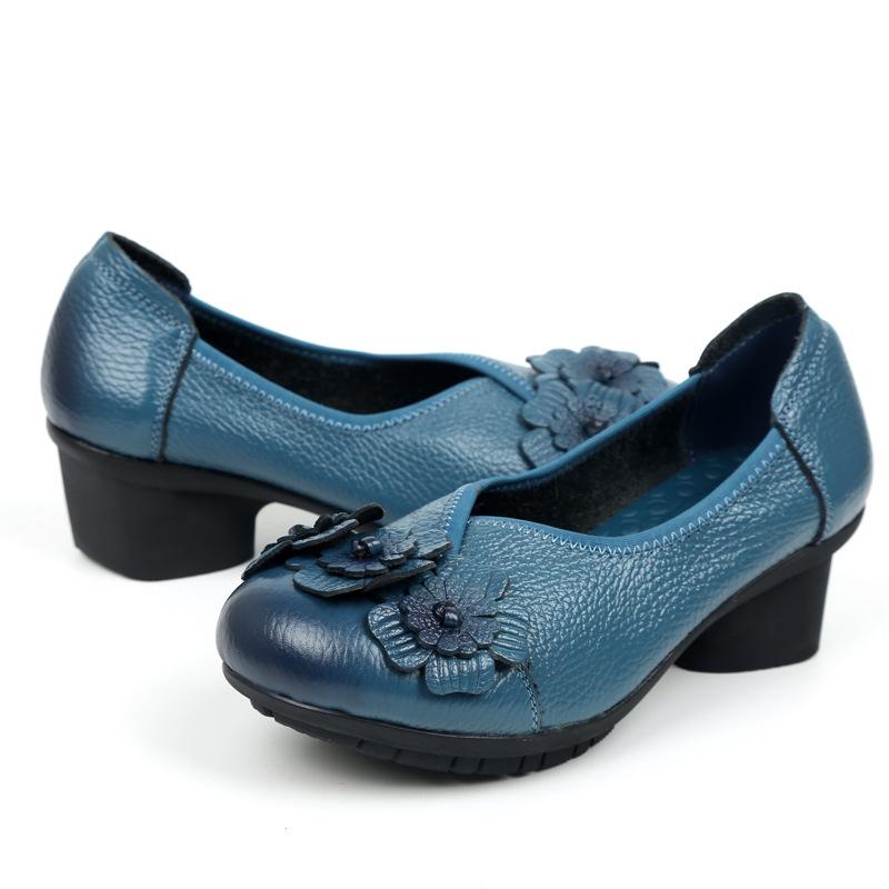 春秋民族风花朵中跟女单鞋复古民族风手工真皮原创女鞋防滑软底