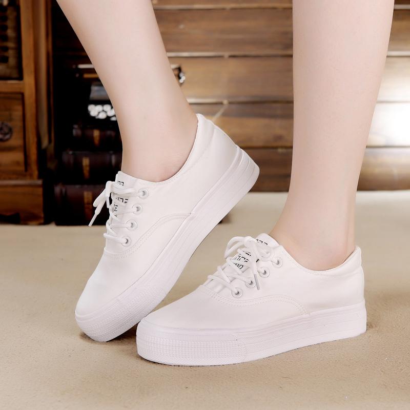 杜熙春夏季韩版白色小白鞋单厚底松糕帆布鞋女学生百搭休闲球板鞋