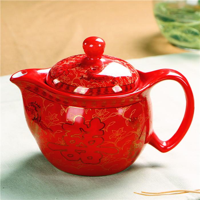 熱賣家用陶瓷中國紅色茶具/龍鳳雙喜泡茶壺/結婚/婚慶新人敬茶壺