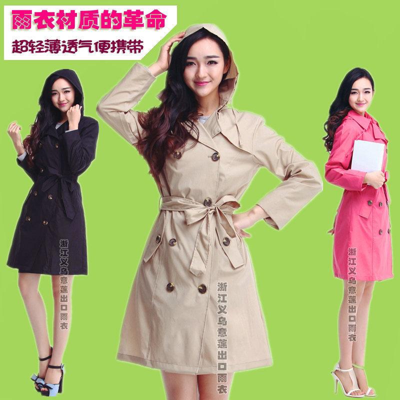 新款 日本韓國女生時尚雨披成人女士風衣式雨衣束口綁繩一甩幹
