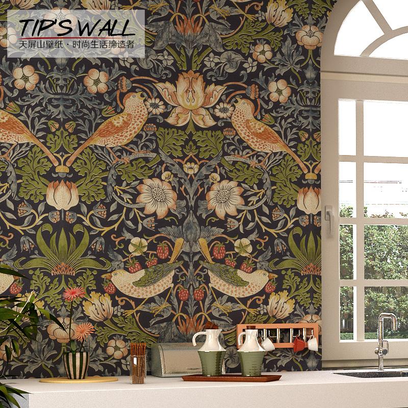 天屏山壁纸美式复古花鸟风情卧室客厅沙发背景墙满铺搭配纯纸墙纸