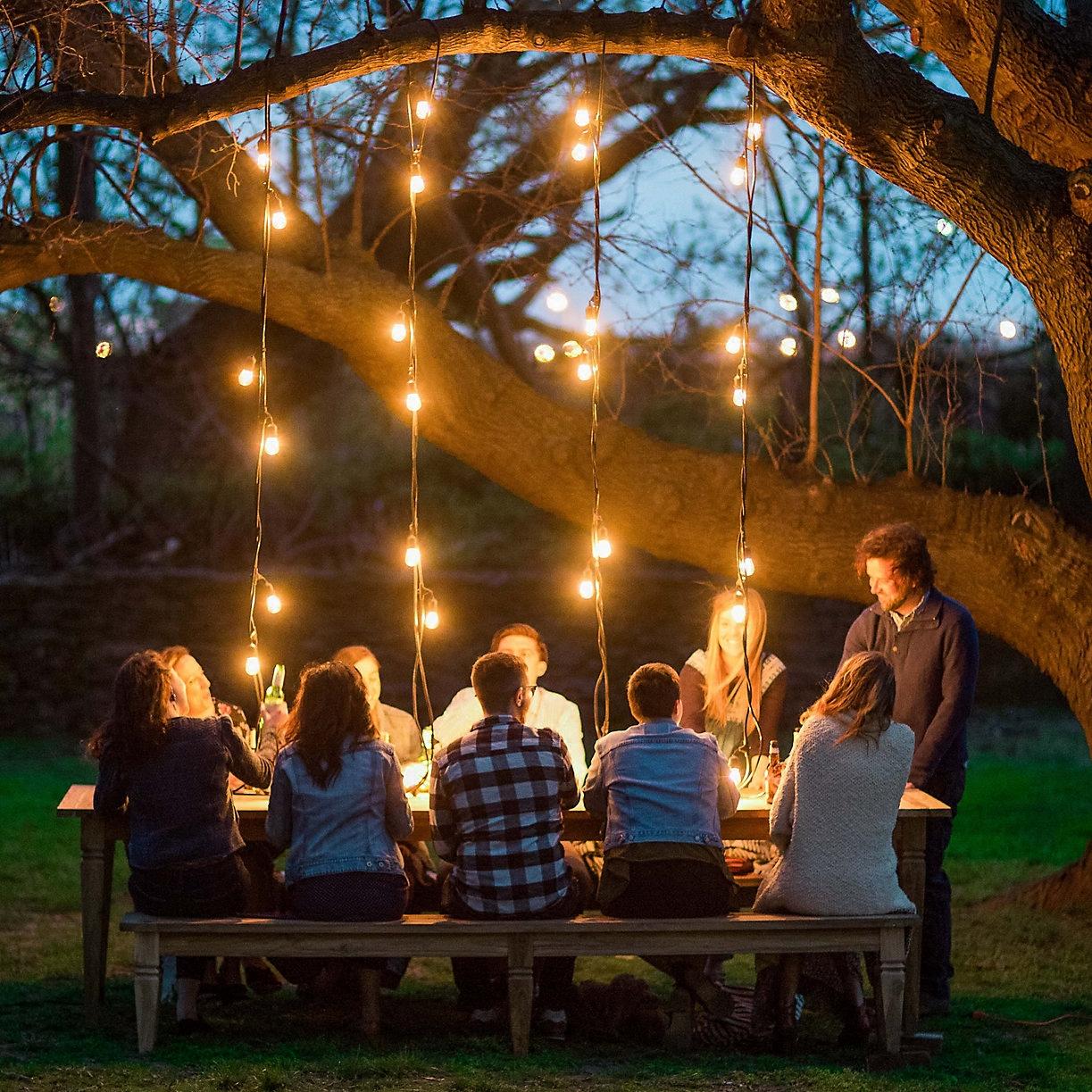 户外彩灯闪灯串灯室外防水挂灯阳台布置庭院装饰氛围G40钨丝灯泡